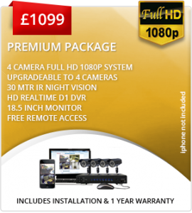 Premium CCTV package with 4 cameras