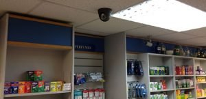 Dome camera installed in a general store