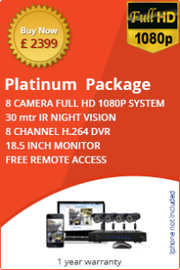 CCTV business platinum package 8 cameras full HD with monitor