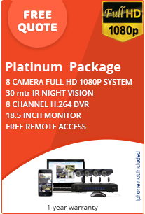 business cctv platinum package with picture of cctv system and screen